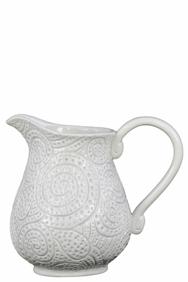 Ceramic Pitcher with Handle and Pierced Design Gloss White