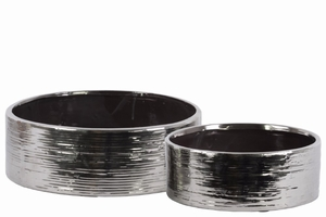 Ceramic Round Wide Pot Set of Two Combed Finish- Silver- Benzara
