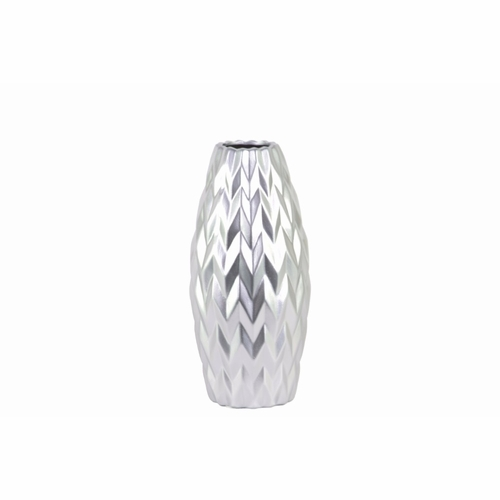 buy ceramic rounded bellied vase with round lip small silver benzara at. Black Bedroom Furniture Sets. Home Design Ideas