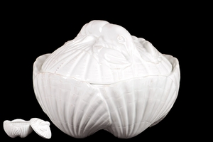 Ceramic Seashell Container w/ Magnificently Sculpted Lobster on the Lid in White