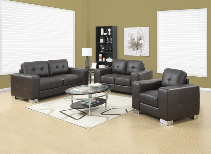 Buy chair dark brown bonded leather match at for Wild orchid furniture