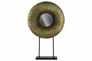 Charger Decor with Hammered Plate and Mirror on Stand- Gold - Benzara