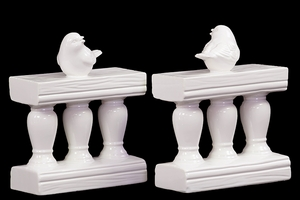 Charming & Adorable Ceramic Bird on Bannister Bookend White