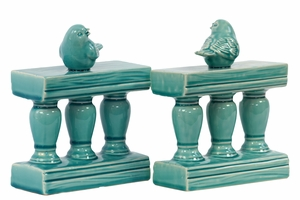 Charming & Adorable Ceramic Bird on Bannister BookendTurquoise - 480384 by Benzara