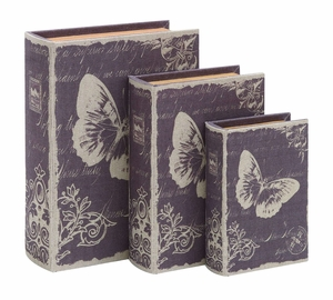 Book Box Set With Paris Butterfly Theme - 54166 by Benzara