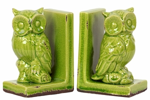Charming & Captivating Stoneware Owl Bookend in Green