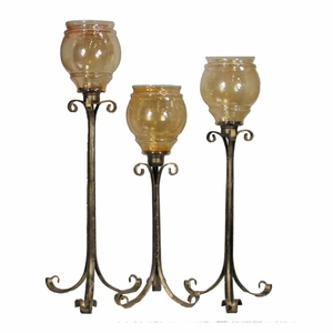 Charming Hammered Class Candle Holder-Set Of - - Benzara