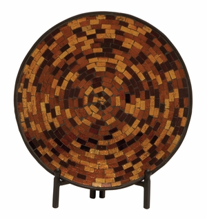 Charming Metal Mosaic Platter With Stand - 24191 by Benzara