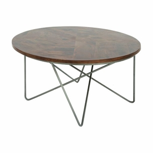 Charming Metal Wood Coffee Table by Benzara