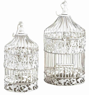 METAL BIRD CAGE S/2 SHABBY CHIC WHITE - 82677 by Benzara