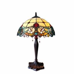 "CHLOE Lighting DULCE Tiffany-style 2 Light Victorian Table Lamp 16"" Shade"