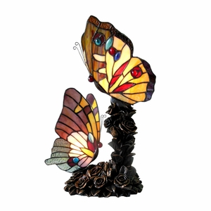 """CHLOE Lighting EDITH 1 Tiffany-style 2 Light Butterfly Table Lamp 10"""" Wide"""