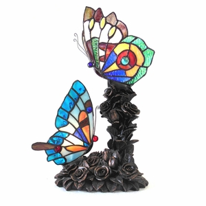 """CHLOE Lighting EDITH 2 Tiffany-style 2 Light Butterfly Table Lamp 10"""" Wide"""