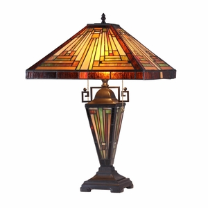 "CHLOE Lighting INNES Tiffany-style 3 Light Mission Double Lit Table Lamp 16"" Shade"