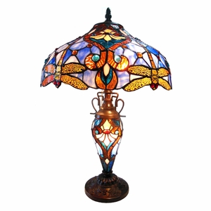 "CHLOE Lighting JULIA Tiffany-style 3 Light Dragonfly Double Lit Table Lamp 17"" Shade"
