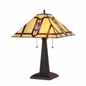 """CHLOE Lighting LAWERENCE Tiffany-style 2 Light Mission Table Lamp 16"""" Shade"""