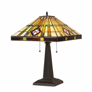 "CHLOE Lighting MARTIN Tiffany-style 2 Light Mission Table Lamp 16"" Shade"