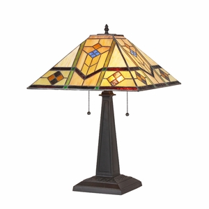 """CHLOE Lighting OLIVER Tiffany-style 2 Light Mission Table Lamp 16"""" Shade"""