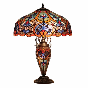 "CHLOE Lighting SADIE Tiffany-style 3 Light Victorian Double Lit Table Lamp 18"" Shade"