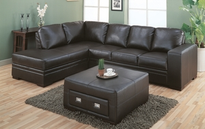 Chocolate Brown Bonded Leather / Match Storage Ottoman