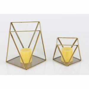 Christina Glass Candle Holder, Set Of 2 - 57381 by Benzara