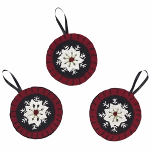 "Christmas Snowflake Ornament Felt Embroidered 4"" Set of 3"