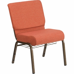 Cinnamon Fabric Church Chair - FD-CH0221-4-GV-CIN-BAS-GG by Flash Furniture