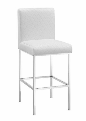 Clarey White Quilted Diamond Bar Stool