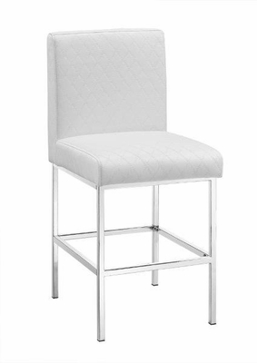 Clarey White Quilted Diamond Counter Stool