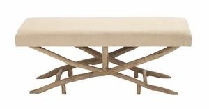 Classic And Comfortable Wood Fabric Bench - 54336 by Benzara
