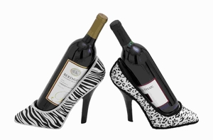 Classic and Elegant Polystone Shoe Fabric Wine Holder 2 Assorted  - 41643 by Benzara