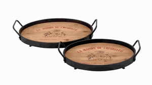 Designed Wood Metal Tray With Metallic Rod - Set Of 2 - 56149 by Benzara
