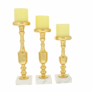 Classic Golden Candle Holder, Set Of 3 - 68989 by Benzara