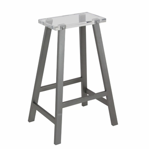 Classic Gray Metal Acrylic Stool - 84397 by Benzara