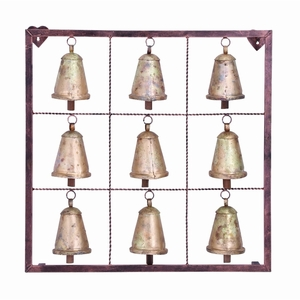 Metal Bell Square Wall Plaque With 9 Bells And Rustic Look - 26723 by Benzara
