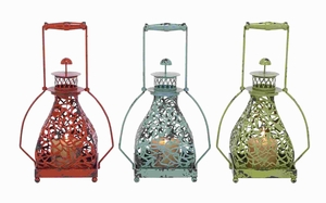 Metal Candle Holder 3 Assorted With Vibrant Colors - 34903 by Benzara