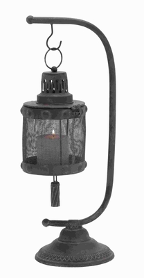 Lantern With Disserted Finish With Tall Holder - 20224 by Benzara