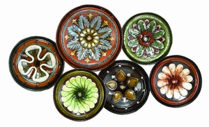 Metal Wall Decor With Six Round Shaped Plates - 13925 by Benzara
