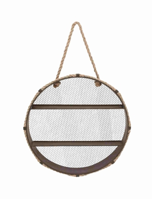 Unique Metal Wall Rope Round Shelf - 93936 by Benzara