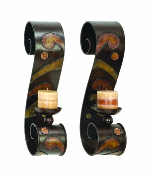 Metal Candle Sconce Pair A Remarkable Gift For Specials - 13270 by Benzara