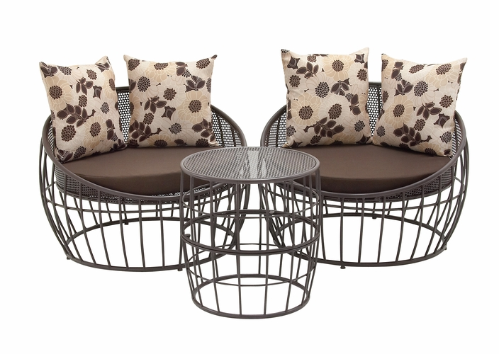 Benzara 89764 classic set of three metal outdoor chair for Wild orchid furniture