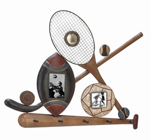 Classic Sports Frames - 3 Picture Frames With Key Hooks  - 69232 by Benzara