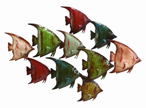 Metal Fish Wall Decor Beach Wall Art - 63533 by Benzara