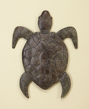 Classic Walking Turtle Metal Wall Decor Sculpture With Detailing - 57986 by Benzara
