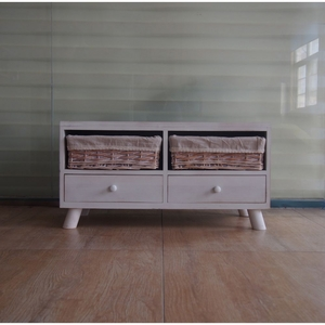 The Urban Port Classic Washed White Wood Cabinet