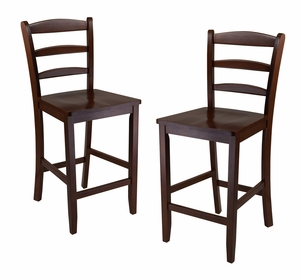 "Classic Wooden Counter Set of 2 24"" Ladder Back Stool with Sturdy Legs by Winsome Woods"