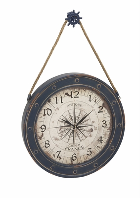 Classily Designed Metal Wood Wall Clock - 55579 by Benzara