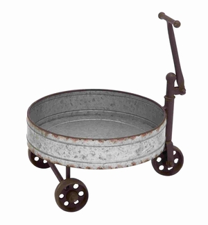Vintage Barrel Cart With Iron Handle and Wheels - 93831 by Benzara