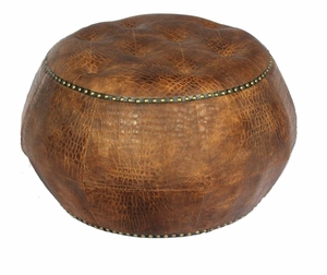 Classy and Supreme Wood Leather Ottoman   - EN50276 by Benzara