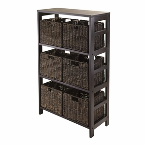 Classy and Unique Granville 7pc Espresso Storage Shelf with 6 Foldable Baskets by Winsome Woods